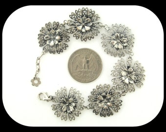 Brand new handmade 18K white gold / 925 sterling silver blooming flower design filigree LINK BRACELET