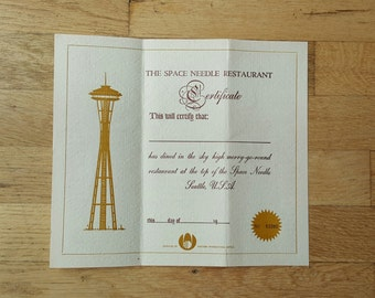 Space Needle kids menu and certificate from the Seattle Worlds Fair