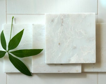 Alaska White Square Marble Coasters. Set of 4. Polished.