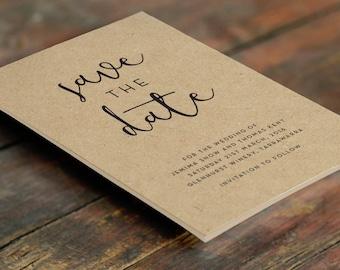 Kraft Rustic Save the Date Cards A6 (Digital File - Printable PDF)
