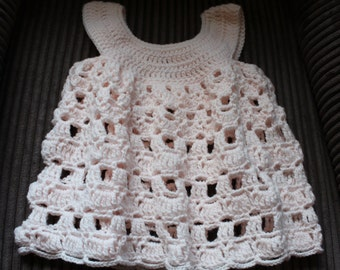 Baby Dress Crocheted in 8 ply Acrylic Yarn Suitable for 6 months through to 18 months depending on baby's size