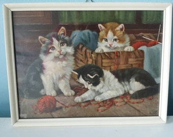 Set of 2 framed cat kitten prints -vintage!