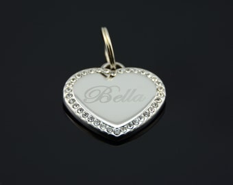 Custom Engraved Personalized Stainless Steel Heart Shape w/ Swarovski Crystals Dog Tag Pet ID Name