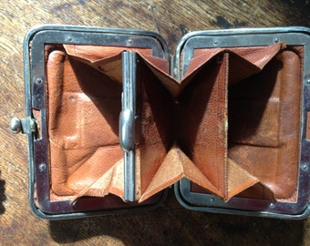 Victorian leather purse. Genuine. 3 and half ins x 2 and half. Vintage