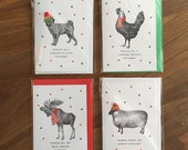 Sale - 4 Pack Christmas Cards - Pug Dog Chicken Moose Sheep Bobble Hat Festive Holiday Greetings Card