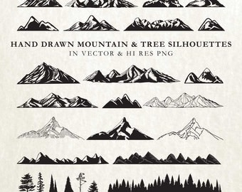 Mountain SVG Cut Files - Hand Drawn Mountains SVG Trees SVG Mountain Cut Files Vector svg dxf eps png - Silhouette Cameo Cricut Transfer