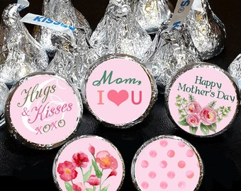 108 Hershey Kiss® Stickers - Watercolor Mother's Day Favors,  Birthday Kiss Stickers, Candy Stickers, Choose your own colors