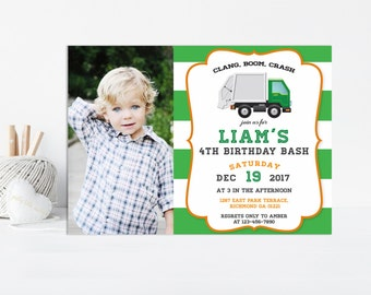 Garbage Truck Invitation, Garbage Truck Party, Birthday Invitation, Garbage Truck Printable, Boy Truck Invitation, Trash Truck Invitation