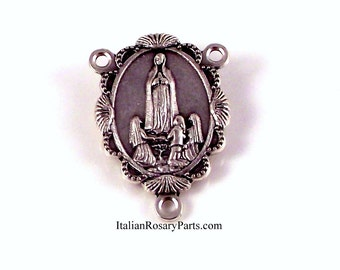 Our Lady of Fatima Rosary Center In Scalloped Frame   Italian Rosary Parts