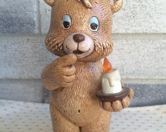 1989 Scioto Ceramic Bear, Vintage Scioto Teddy Bear Figurine, Scioto Bear