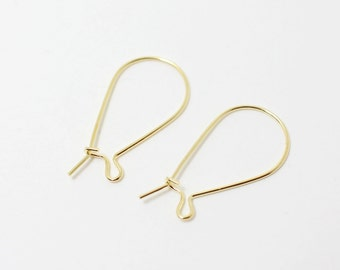 B0011/Anti-tarnished Gold Plating Over Brass/Kidney ear wires/32x 14mm/20pcs