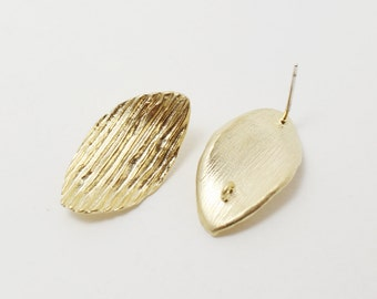 E0070/Anti-tarnished Matte Gold Plating Over Brass+ Sterling Silver Post/Textured Leaf Earrings/13x23mm/2pcs