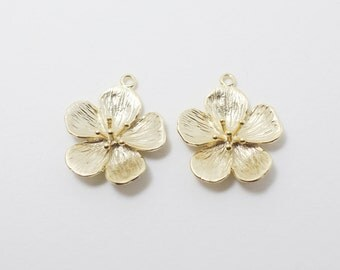P0217/Anti-Tarnished Matte Gold Plating Over Brass/Cherry Blossom Pendant Connector /18.4 x 21mm/2pcs