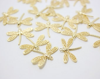 P0234/Anti-Tarnished Matte Gold Plating Over Brass/Dragonfly Pendant/22.5 x 17mm/2pcs