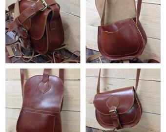Small Leather Messenger Bag, Leather Handbag, Leather Bag, Small Everyday Purse,Womens Small Leather Crossbody Bag