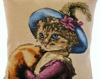 Tapestry Cushion Cat Eugénie 19 '' x 19 '' (48x48cm)