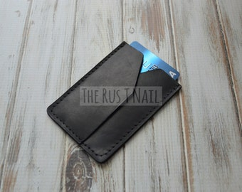 Genuine Leather Rugged Credit Card Wallet - Black - Minimalist Credit Card Wallet - Leather Credit Card Case - Slim Card Case