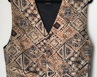 Vintage Print button vest