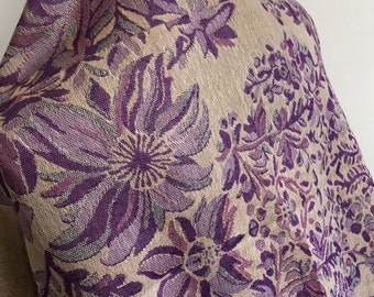 pashmina shawl cover up scarf Fichu poncho flowers purple lilac cream finished with tassels