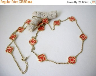 ON SALE Vintage Gold Orange Single Strand Long Enamel Necklace 61416