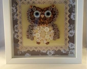 Owl button art