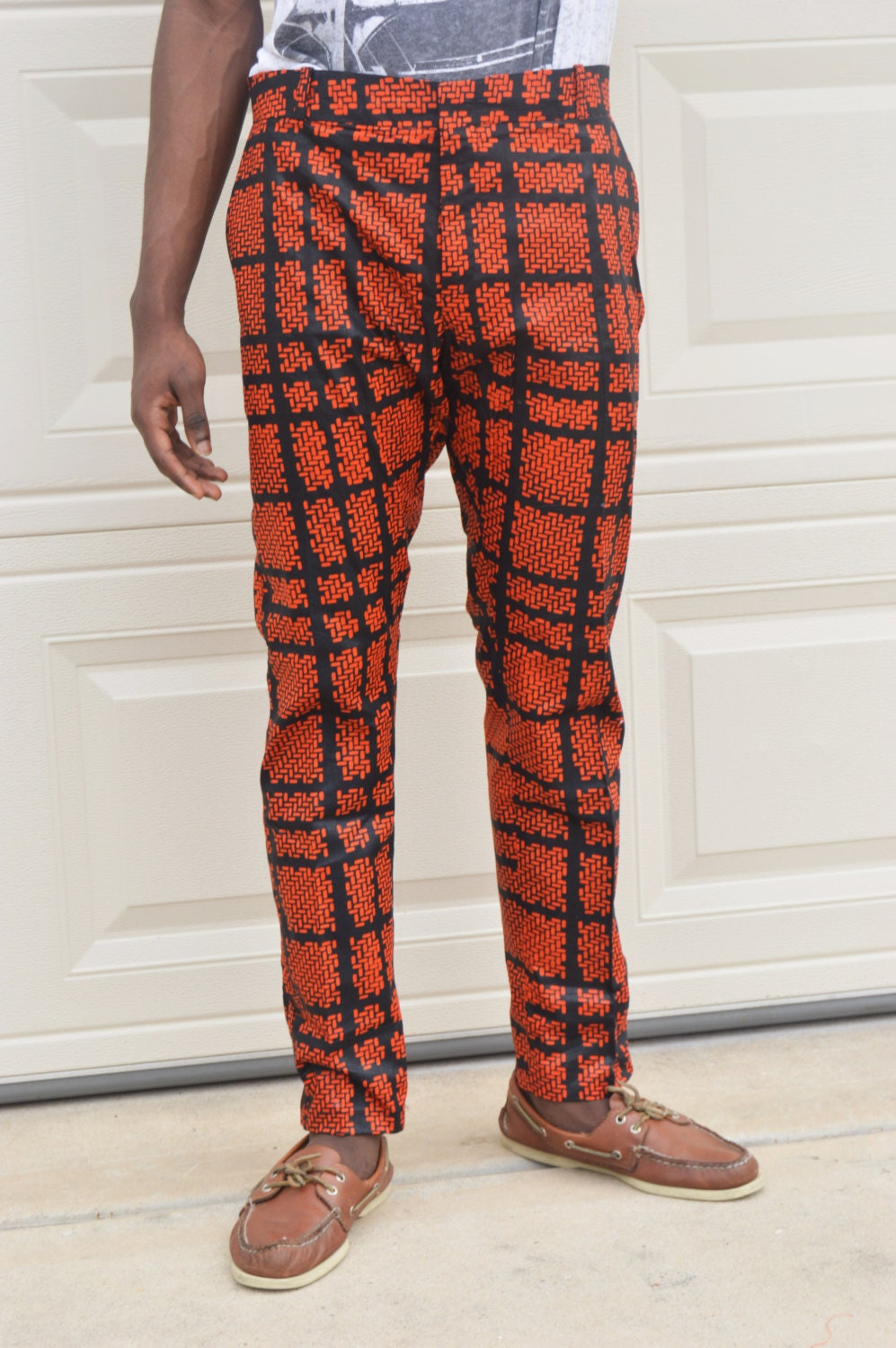 African ankara print men pants Men Handmade black and orange