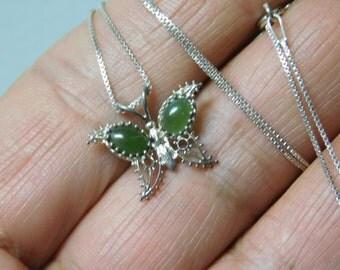 Vintage Handmade Sterling Silver Aventurine butterfly Necklace Pendant