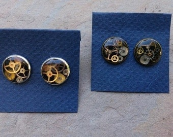 steampunk resin cog stud earrings