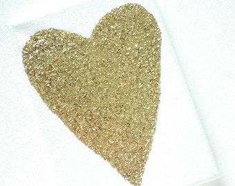 Wedding Gift - Glitter Art - Nursery Art - Gold Wall Art - Gold Heart Canvas - Gold Canvas Art - Gold Heart - Gallery Wall - Canvas Art