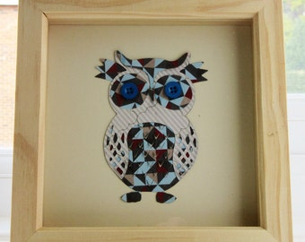 owl picture for a box frame / cute owl wall art / owl art / ideal gift / a chequred owl picture handmade using scrapbook paper