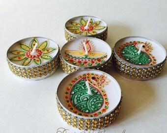 Set of 5,colorful jumbo tea lights /unique design/henna tea lights/ party favors/wedding decor/wedding favors/mehndi night/henna party decor