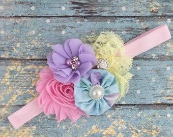 Easter baby headband-spring easter pastel headband-spring baby headbands- Easter pastel baby headband-easter infant newborn headband- easter