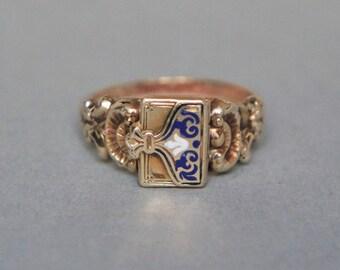 Georgian Enamel Poison Ring // Antique 14K Yellow Gold Locket Ring