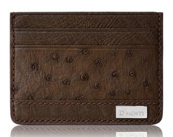 D'Monti Paris Dark Brown Credit Card Holder Slim Wallet in Exotic Ostrich Leather for men women unisex designer luxury gift idea