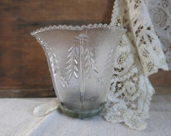 Vintage Glass Shade | Glass Light Cover | Repurposed Candle Votive |  Shabby Decor |Cottage Chic