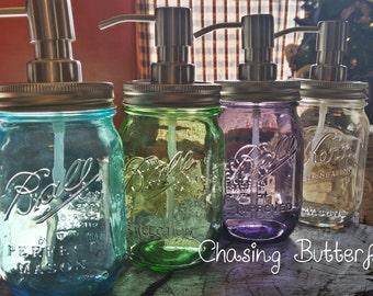 Mason Jar Soap Dispenser ~ Vintage Blue ~ Vintage Purple ~ Vintage Green ~ Clear ~ Home Decor ~ Kitchen Decor ~ Primitive Decor ~ Country