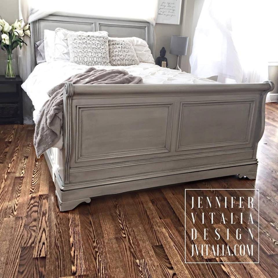 Sleigh Bed Gray Handpainted Custom Orderd