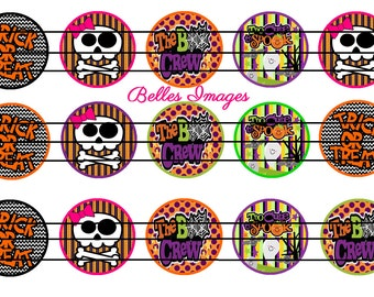 Halloween Bottle Cap Images 1 Inch Circles Party Decor Toppers