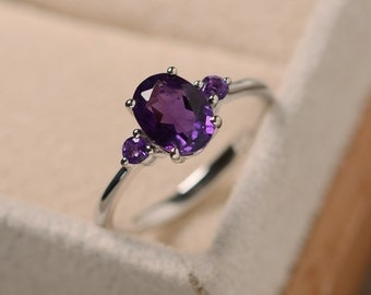 Amethyst ring silver, purple gemstone, February birthstone