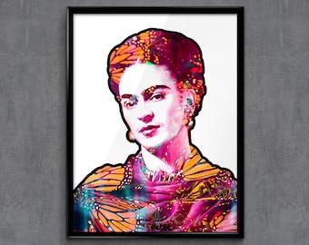 Frida Kahlo and the butterflies - Frida Kahlo Art - Frida Kahlo Poster - Frida Kahlo Print - Personalities Portraits - Wall Art Prints