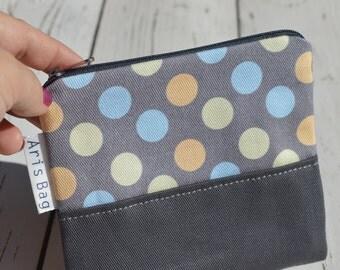 Mini Make Up Bags, Toiletry Bag, Intim Case, Polka Dots Canvas Coin Purse, Birthday Present, Birdesmaid Gift, Zippered Mini Bag