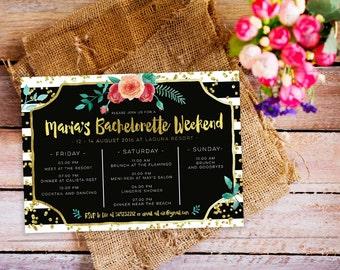 bachelorette weekend invitation, bachelorette itinerary invitation, bachelorette party itinerary timeline, gold bachelorette invitation