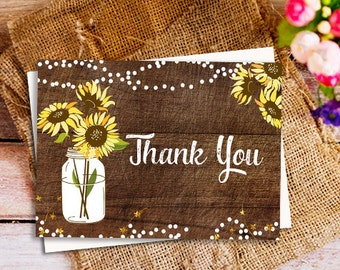 Folded Thank You Card, Rustic Country thank you card, mason jar thank you card, sunflower thank you card, Bridal Shower Thank You Card,