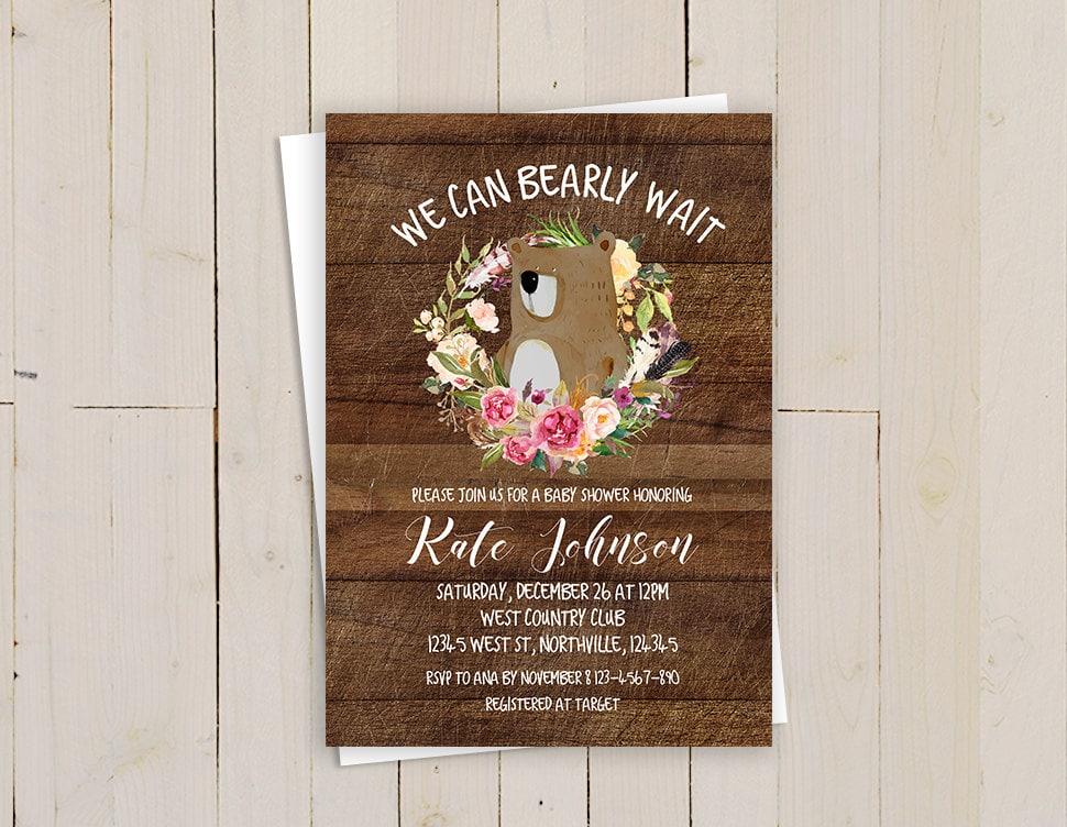 bear baby shower invitation, We can bearly wait invitation, woodland ...