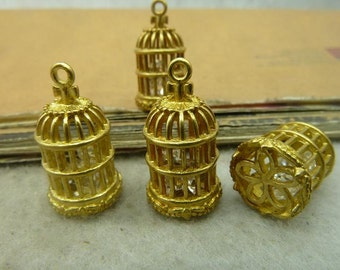 2 Cage Charms Antique Gold Tone 3D and bird in the cage -WS4968