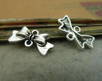 BULK 50 Bow Connector Charms Antique Silver Tone 2 Sided