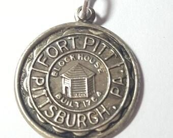 Vintage Sterling silver Fort Pitt Pendant Signed Bruce