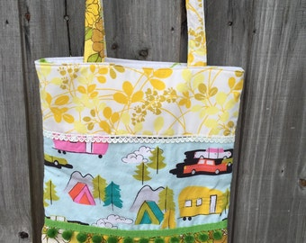 "SALE! Groovy RV tote bag!!! Retro yellow ""flower power"" sheet upcycled market bag/ vintage sheet tote bag in yellows"