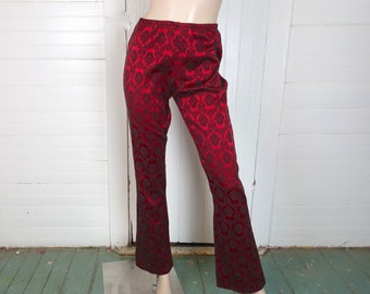Red Vampire Pants - 1990s / 90s Goth Brocade Bell Bottoms / Flares- Small