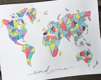 Geometric Watercolor Map